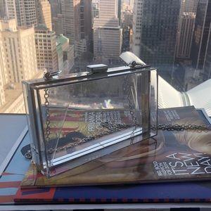 Handbags - Clear Acrylic Box Clutch Purse w/ Silver Chain